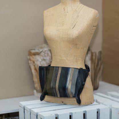 Поясная дизайнерская кожаная женская сумка MACARON, полосатая кожаная сумка ручная работа. купить поясную сумку кожа, mrs.bag