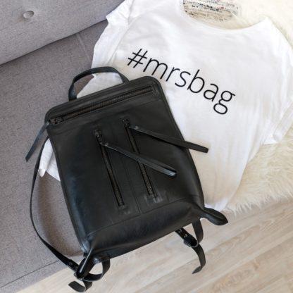 яркий кожаный женский рюкзак натуральная кожа черный молния BONNIE купить