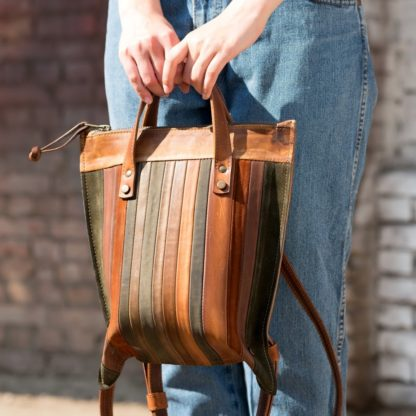 Женская кожаная полосатый яркий Сумка-рюкзак MACARON купить