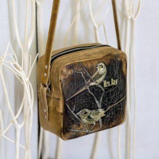 Кубик ПТИЦЫ кожаная женская сумка вышивка купить