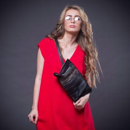 Поясная дизайнерская кожаная женская сумка MACARON полосатая кожа ручная работа