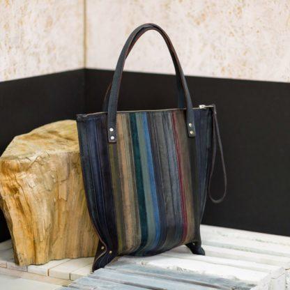 женская сумка-пакет, кожаная сумка-пакет, купить женскую сумку кожа, полосатая сумка, mrs.bag, women's leather bag