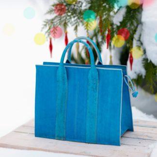 Большая кожаная женская сумка синяя KARL купить, mrsbag