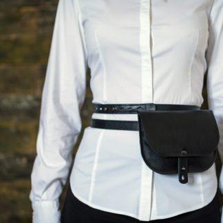 женская кожаная черная Поясная сумка на ремне купить