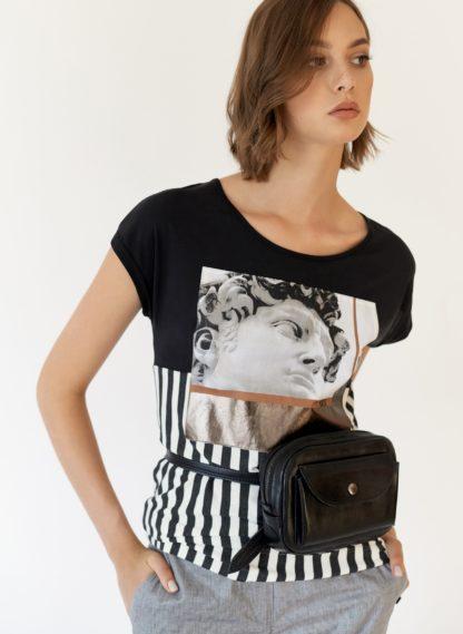 Черная женская кожаная маленькая поясная сумка на молнии, съемный ремень, купить сумку из натуральной кожи, Mrs.Bag