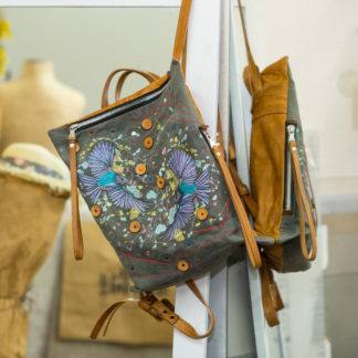 купить рюкзак, кожаный женский рюкзак, комбинированный рюкзак из кожа лён, птицы, вышивка, mrs.bag