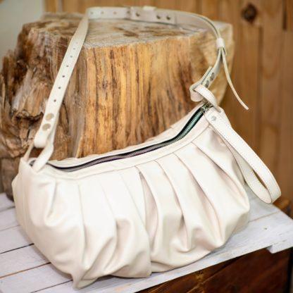поцелуй бежевая женская сумка пельмень кожа, сумка из натуральной кожи, mrs.bag